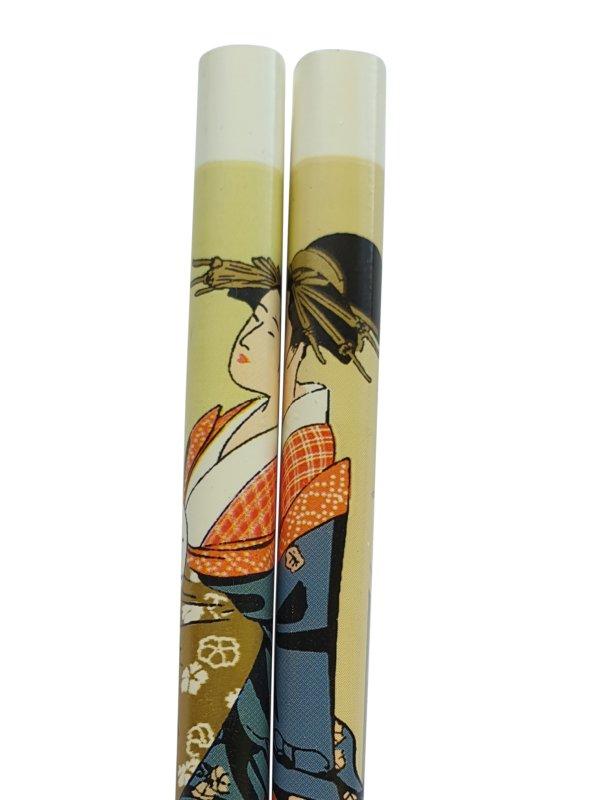 Eetstokjes geisha Japanse uitvoering wit detail