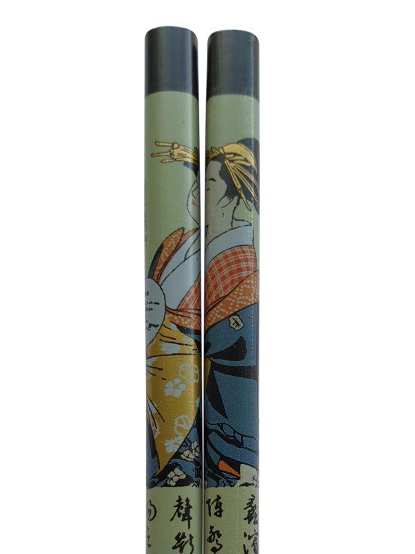 Eetstokjes geisha Japanse uitvoering zwart detail