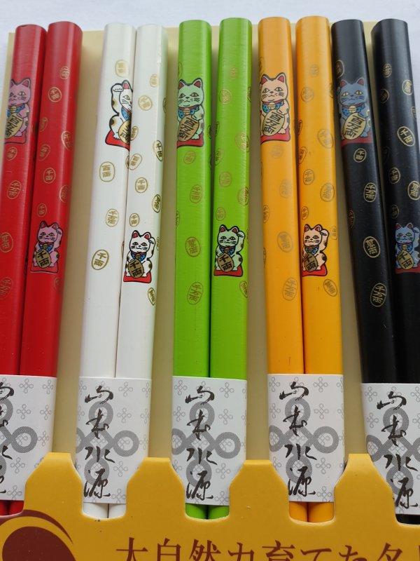 Japanse eetstokjes Gelukskat (div. kleuren)