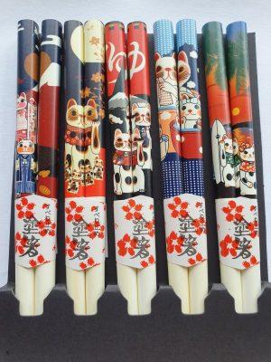 Japanse eetstokjes Gelukskat (wit) detail