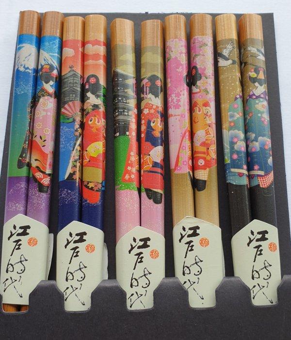 Japanse eetstokjes Geisha detail