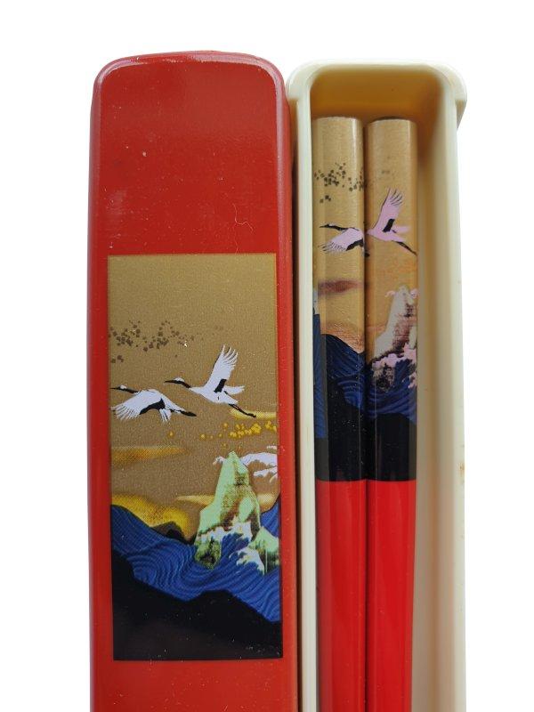 Japanse eetstokjes Kraanvogel rood detail