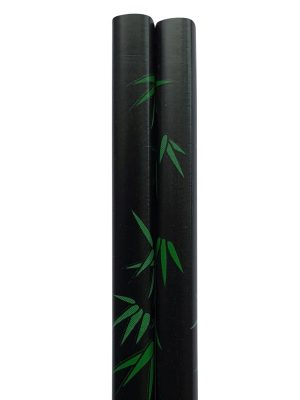 Eetstokjes bamboeblad Japans model zwart detail