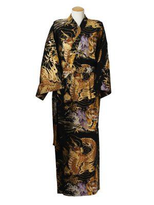 Japanse kimono draak tijger katoen zwart