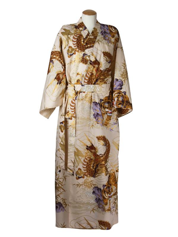 Japanse kimono draak tijger katoen beige