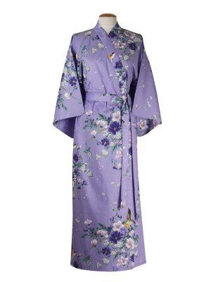 Kimono met bloem dessin paars