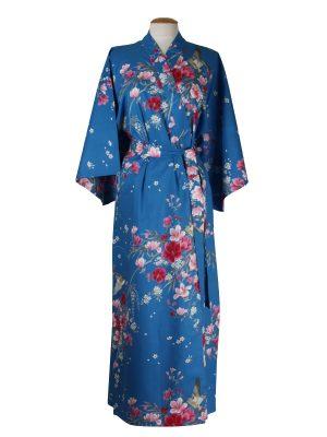 Kimono met bloem dessin blauw