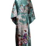 Japanse kimono maiko polyester groenblauw