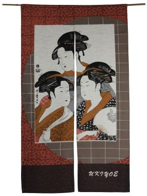 Japans deurgordijn (originele Noren) Three Ladies