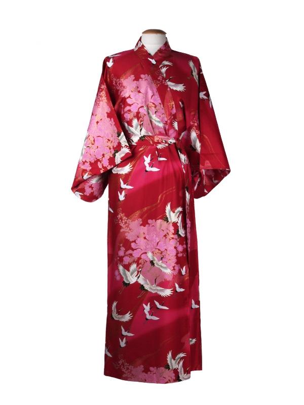 Japanse kimono kraanvogel polyester rood