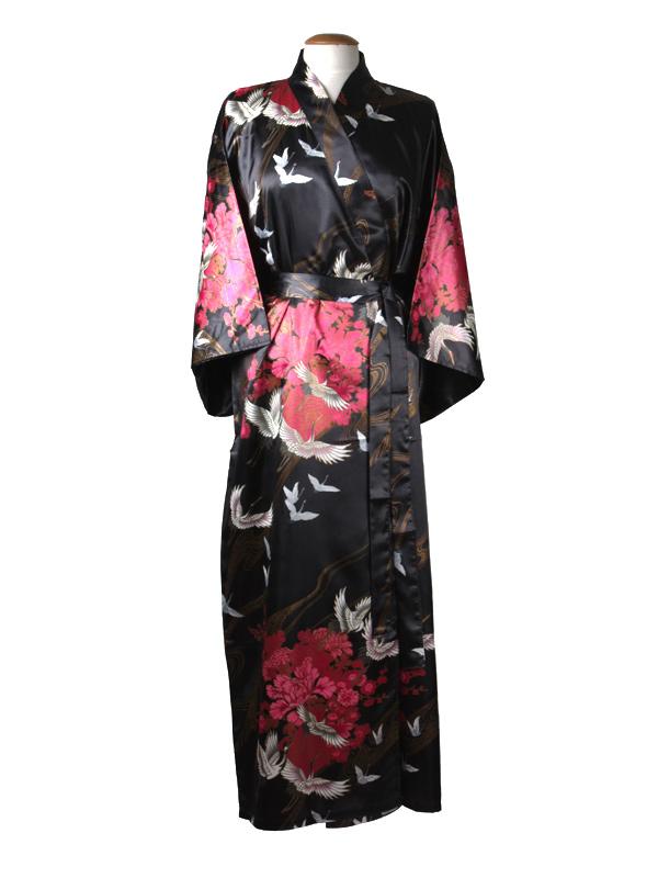Japanse kimono kraanvogel polyester zwart