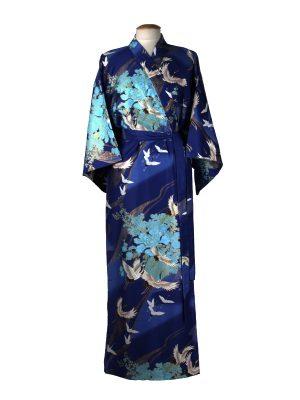 Japanse kimono kraanvogel polyester blauw
