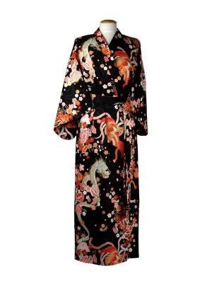 Japanse kimono draak phoenix katoen zwart