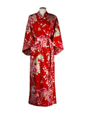 Japanse kimono draak phoenix katoen rood