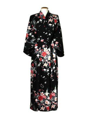 Kimono met bloem dessin zwart