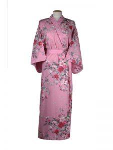 Kimono met bloem dessin roze