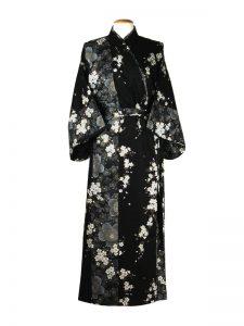 Japanse kimono kersenbloesem katoen zwart