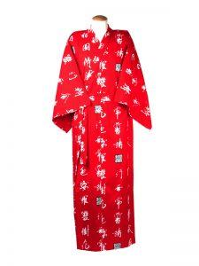 Yukata character katoen rood