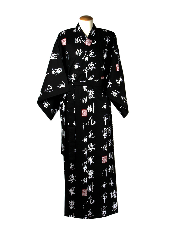 Yukata character katoen zwart