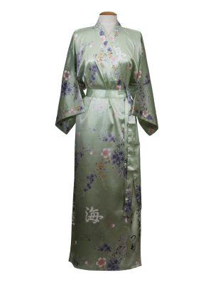 Japanse kimono bloem polyester groen