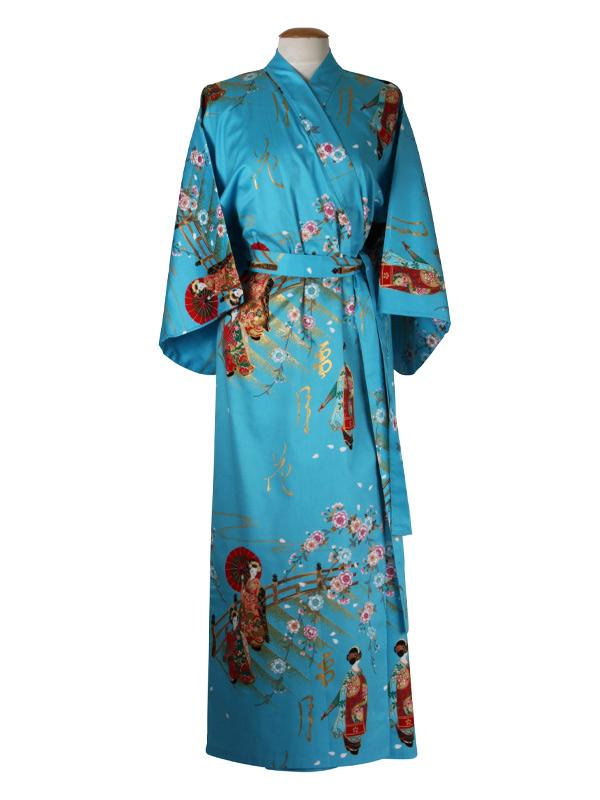Japanse kimono maiko katoen blauw