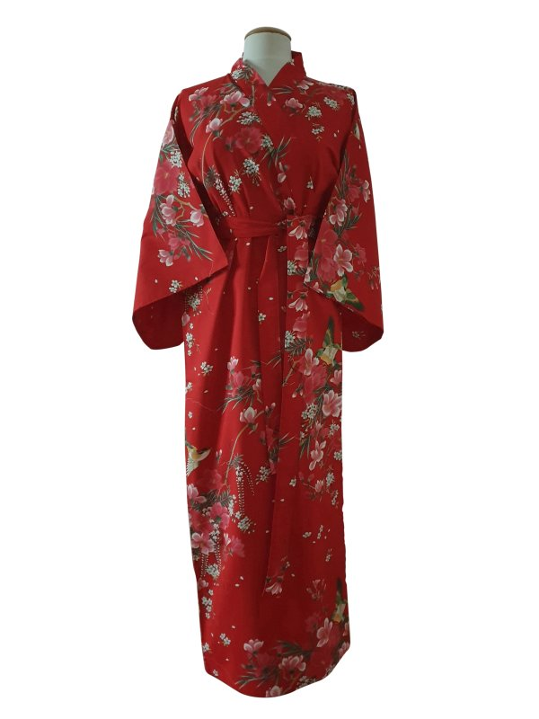 Kimono met bloem dessin rood