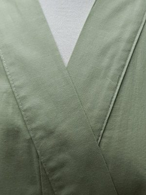 Originele Japanse Yukata olijfgroen katoen detail