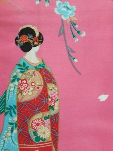 Japanse kimono maiko katoen roze detail