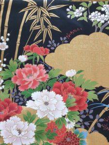 Japanse kimono met bloemen dessin katoen zwart detail
