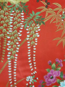 Japanse kimono met bloemen dessin katoen rood detail
