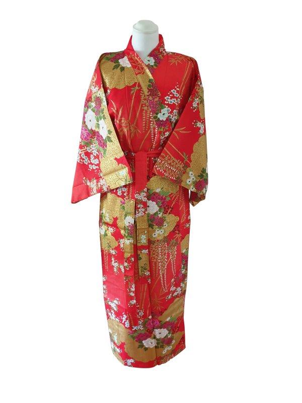 Japanse kimono met bloemen dessin katoen rood