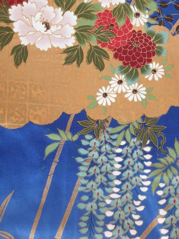 Japanse kimono met bloemen dessin katoen blauw detail