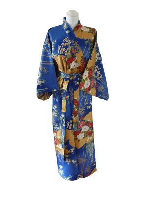 Japanse kimono met bloemen dessin katoen blauw