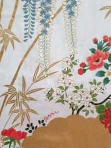 Japanse kimono met bloemen dessin katoen wit detail