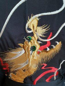 Japanse gevoerde kimono draak detail