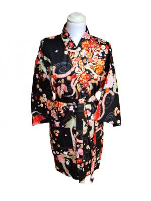 Japanse korte kimono draak phoenix katoen zwart