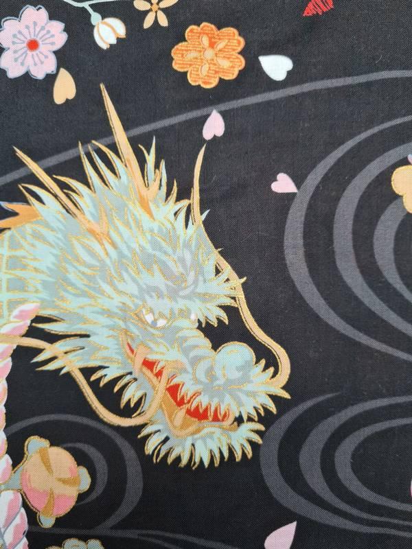 Japanse korte kimono draak phoenix katoen zwart detail