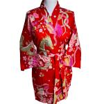 Japanse korte kimono draak phoenix katoen rood