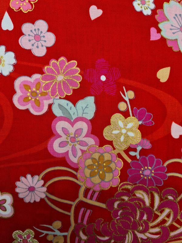 Japanse korte kimono draak phoenix katoen rood detail