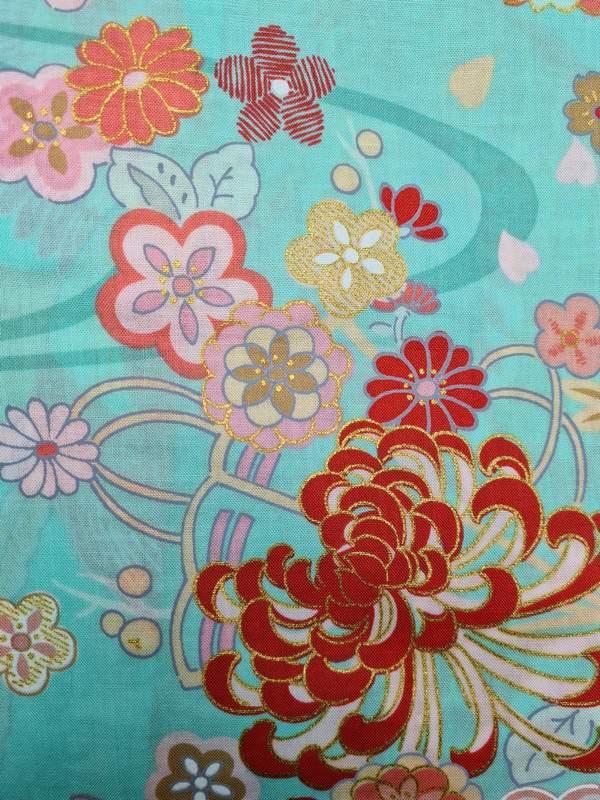Japanse korte kimono draak phoenix katoen groen detail