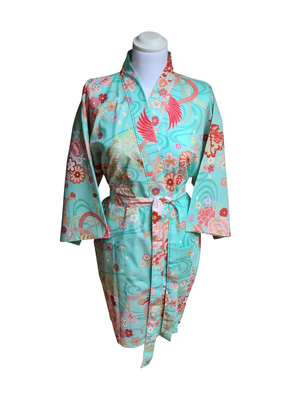 Japanse korte kimono draak phoenix katoen groen