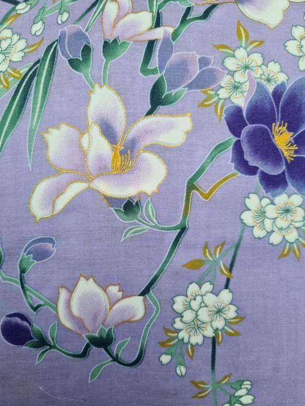 Kimono kort met bloem dessin paars detail