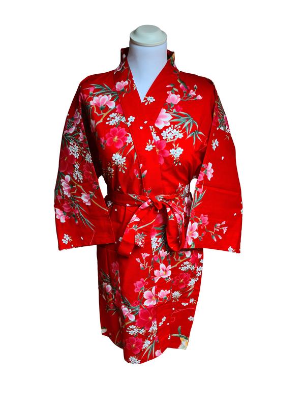 Kimono kort met bloem dessin rood