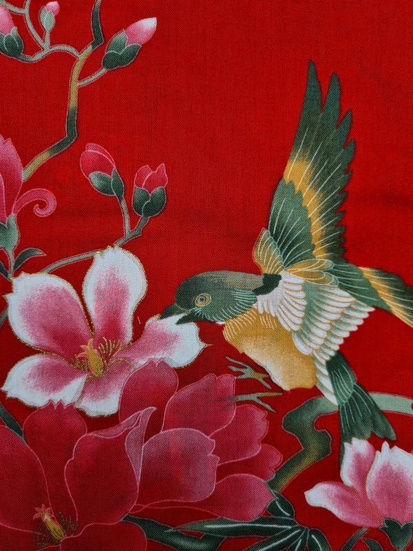 Kimono kort met bloem dessin rood detail