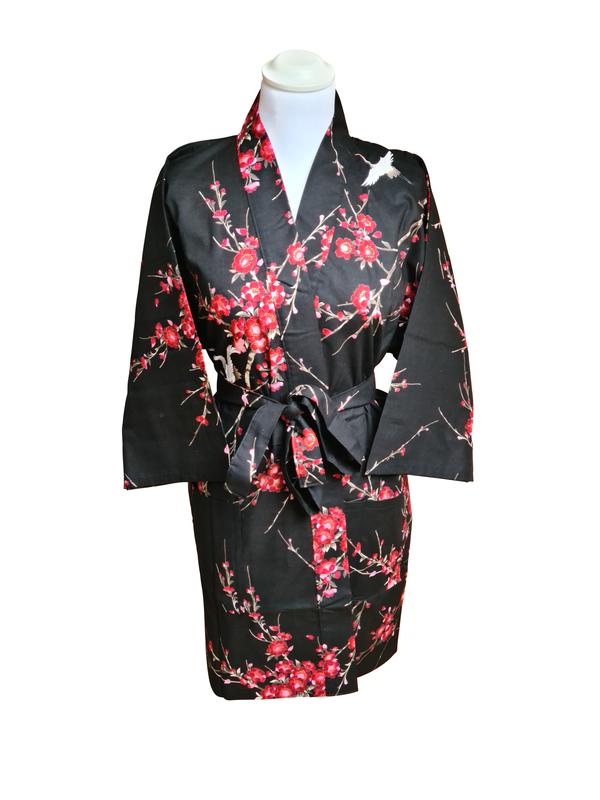 Japanse korte kimono kersen bloesem katoen zwart