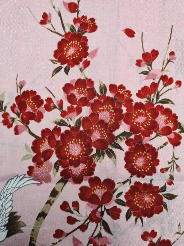 Japanse korte kimono kersen bloesem katoen roze detail