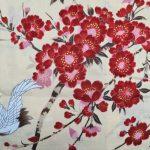 Japanse korte kimono kersen bloesem katoen beige detail