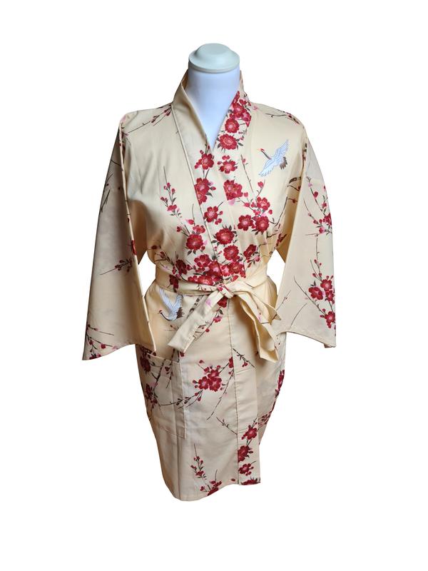 Japanse korte kimono kersen bloesem katoen beige