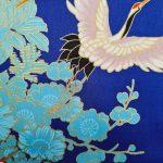 Japanse korte kimono blauw detail