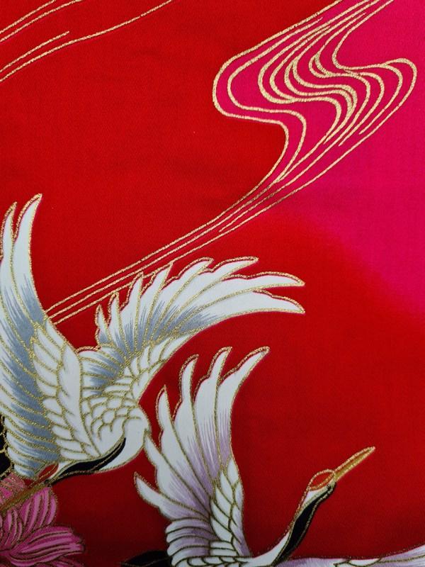 Japanse korte kimono rood detail